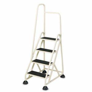 "Four-Step Stop-Step Folding Aluminum Ladder w/Left Handrail, 66 1/4"" High, Beige"