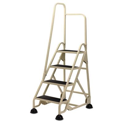 "Four-Step Stop-Step Folding Aluminum Ladder w/Right Handrail, 66 1/4""H, Beige"