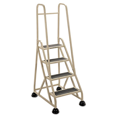 """Four-Step Stop-Step Folding Aluminum Ladder w/Two Handrails, 66 1/4"""" High, Beige"""
