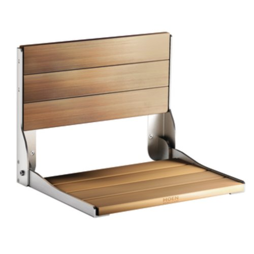 MOEN FOLD DOWN SHOWER SEAT, WALL MOUNT, TEAK