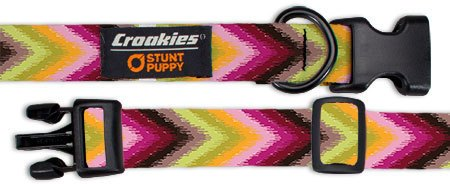 Croakies Dog Collar, Large, Chevron Limefest
