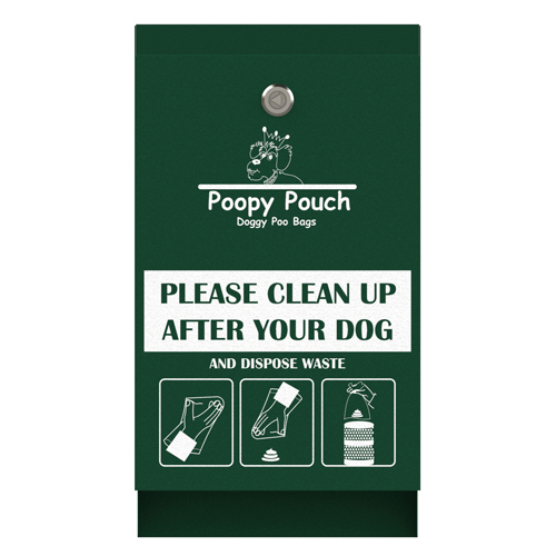 POOPY POUCH PET WASTE HEADER BAG DISPENSER, HUNTER GREEN
