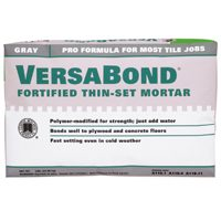 Versabond MTSG25 Fortified Thin-Set Mortar, 25 lb, Bag, Gray, Solid Powder