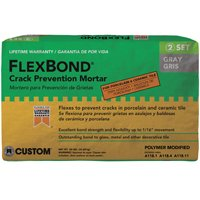 FlexBond FB50 Crack?Prevention?Mortar, 50 lb, Bag, Gray, Characteristic, Solid Powder