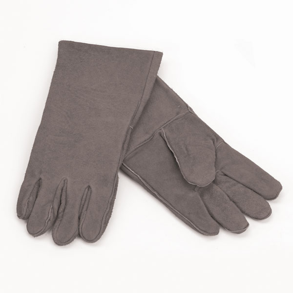 """1 Pair Of Woodfield Brown Leather Fireplace Gloves, 13.5""""l"""