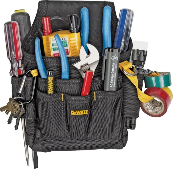 DeWalt DG5103 Small Electricians Pouch, 7-1/2 in W X 3 in D X 11-1/8 in H, Polyester