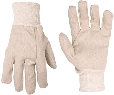CLC 2002 Economy Work Gloves, One Size Fits All, Cotton Canvas, White