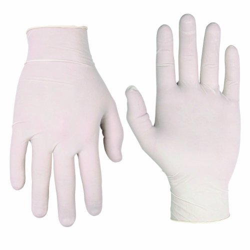 CLC 2316L Disposable Pre-Powdered Protective Gloves, Large, Latex, White