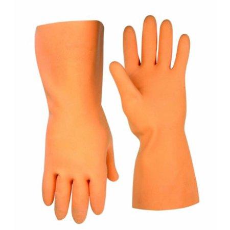 CLC 2308 Stripper Gloves, Medium, Heavyweight Latex, Orange, Cotton Flock Lining