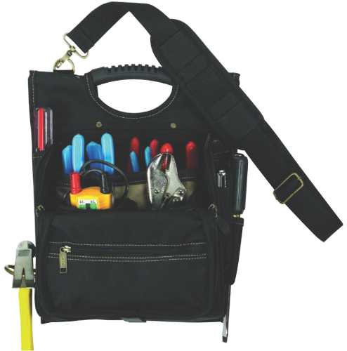CLC 1509 Zippered Electrician's Tool Pouch, 21 Pocket, Polyester Fabric, Black