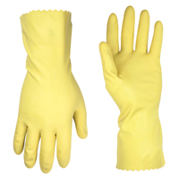 CLC 2300 Household Gloves, X-Large, Latex, Yellow, Cotton Flock Lining