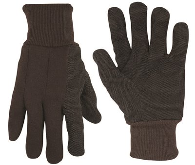 CLC� BROWN COTTON JERSEY GLOVES WITH PVC GRIPPER DOTS