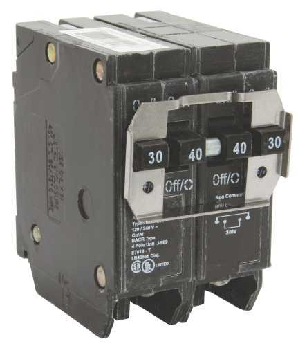 Eaton BQ230240 Type BQ Quadplex Circuit Breaker, 120/240 VAC, 30/40 A, 4 P, 10 kA