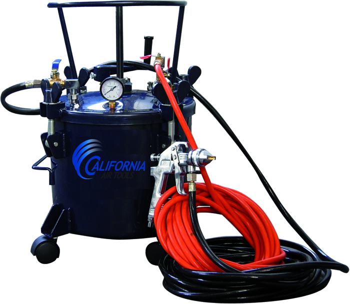 California Air Tools 5 Gallon Pressure Pot With HVLP Spray Gun & Hose