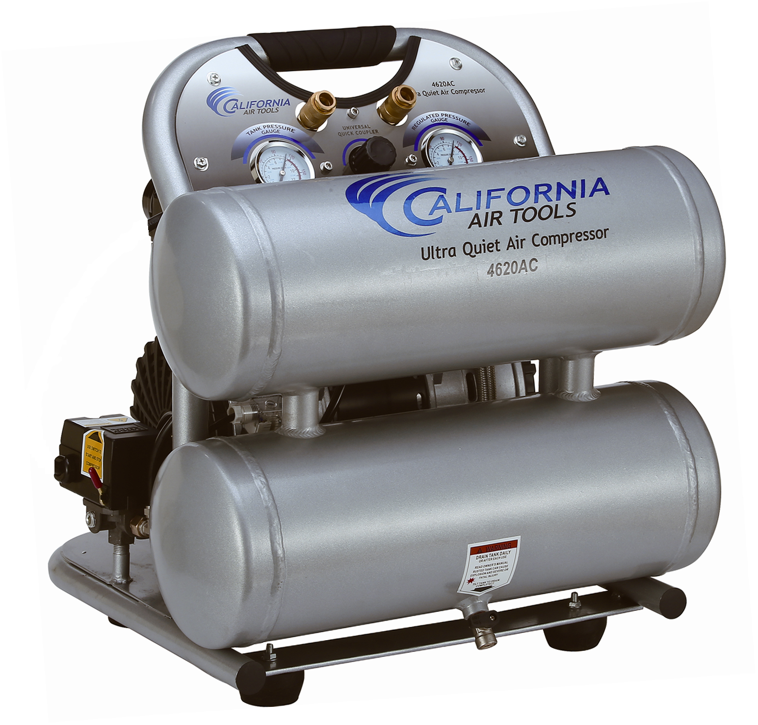 California Air Tools 4620AC Ultra Quiet & Oil-Free 2.0 Hp, 4.0 Gal. Aluminum Twin Tank Electric Portable Air Compressor