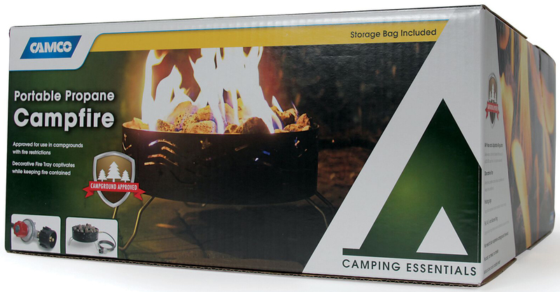 CAMPFIRE, PORTABLE, W/ 8FT HOSE AND REGULATOR, 14.5IN DIA