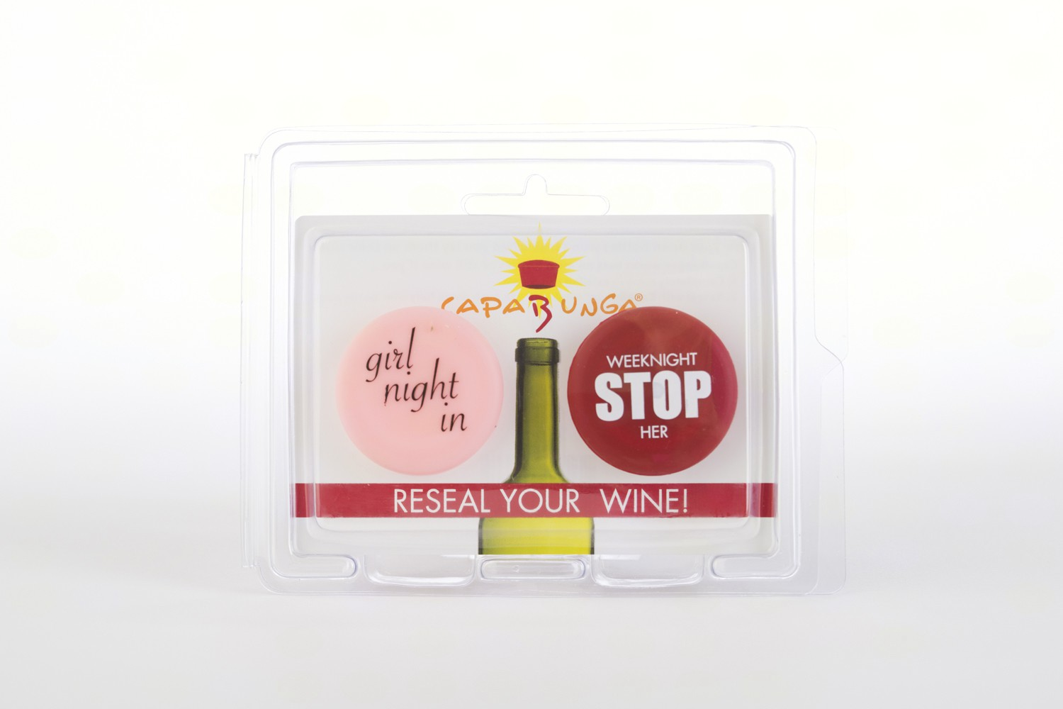 Girls Night In (Pink) & Stop (Red) Reusable Silicone Wine Bottle Cap