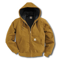 Carhartt� Large Regular Brown Thermal Lined 12 Ounce Cotton Duck Active Jacket With Front Zipper Closure And Attached Hood