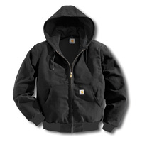 Carhartt� 5X Regular Black Thermal Lined 12 Ounce Cotton Duck Active Jacket With Front Zipper Closure And Attached Hood
