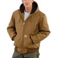 Carhartt� Large Regular Brown Quilted-Flannel Lined 12 Ounce Cotton Duck Active Jac Jacket With Front Zipper Closure