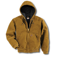 Carhartt� 2X Tall Brown Quilted Flannel Lined 12 Ounce Cotton Sandstone Duck Active Jacket With Ziper Closure And Attached Hood