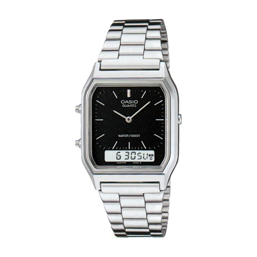 Casio AQ230A-1D Digital Analog Dual Time Metal Watch