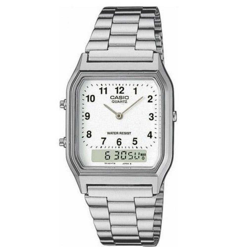 Casio AQ230A-7B Men's Dual Time Stainless Steel Water Resistant Dress Watch