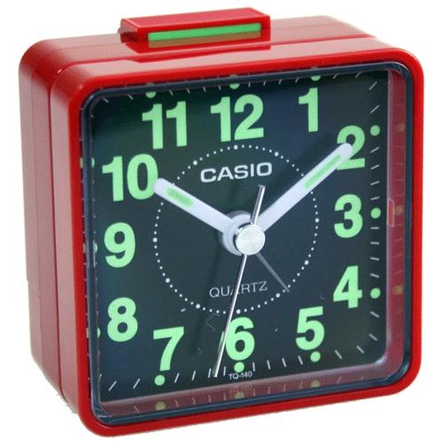 Casio TQ140 Travel Alarm Clock - Red