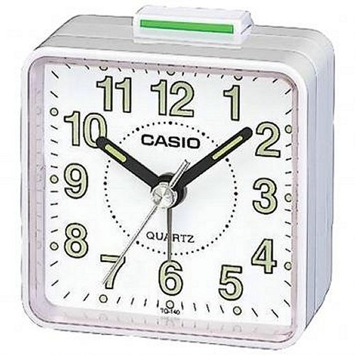 Casio TQ140 Travel Alarm Clock - White
