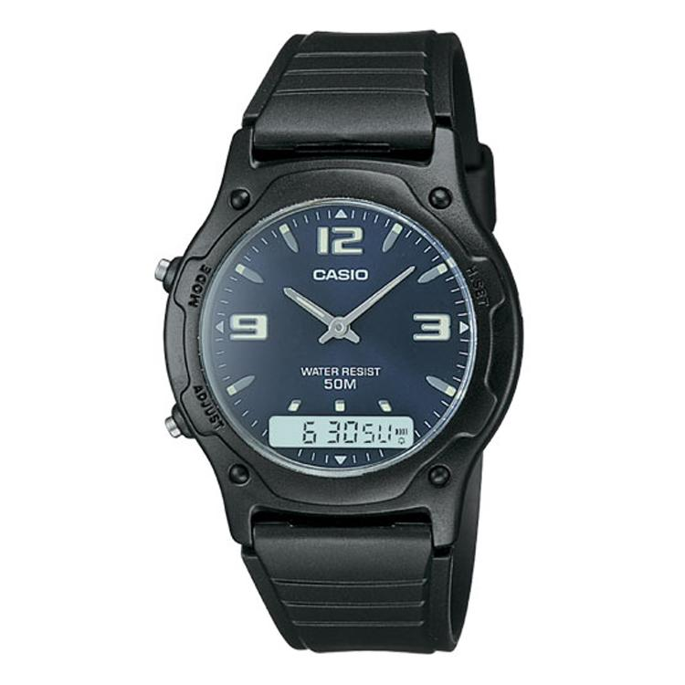 Casio Analog/Digital 50 Meter Water Resistant Watch with Daily Alarm and Calendar