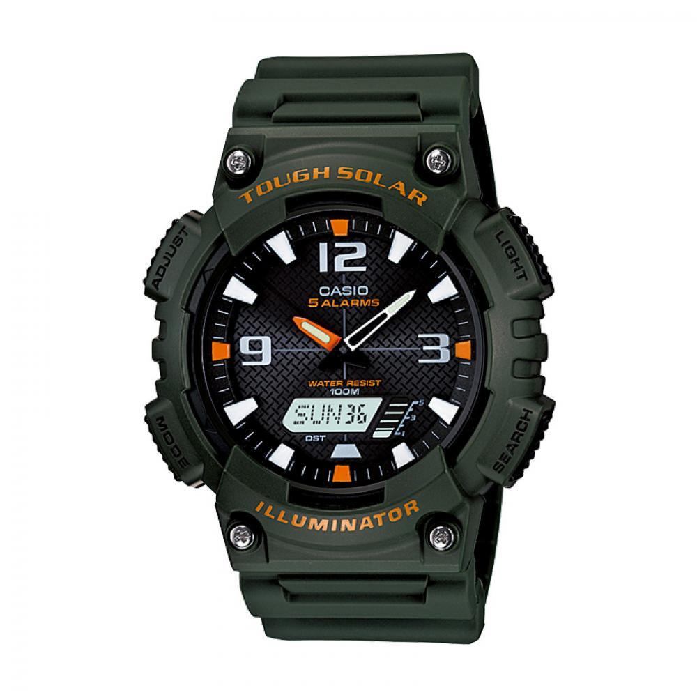 Casio 100M Water Resistant Self-Charging Solar Digital Analog Watch Green Band, Black/Orange Face