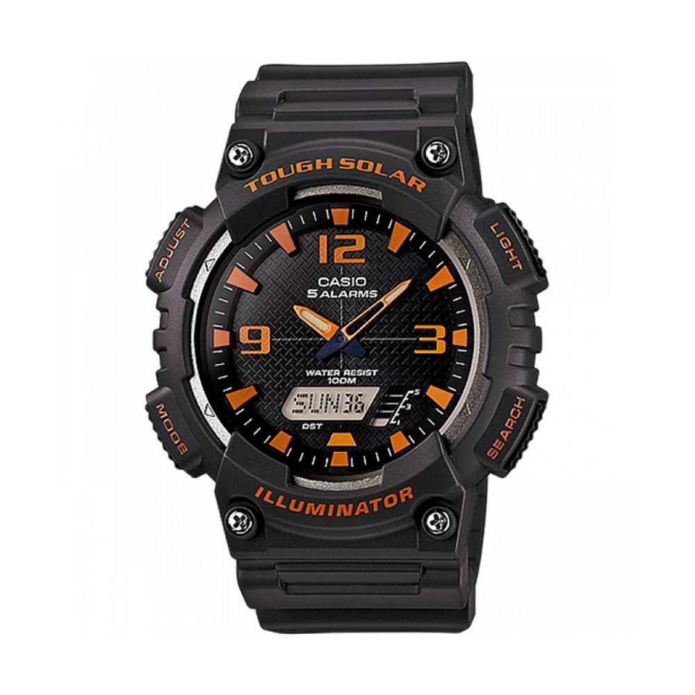 Casio 100M WR Self-Charging Solar Digital Analog Watch Matte Gray Band, Black/Orange Face
