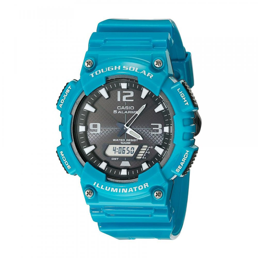 Casio 100M Water Resistant Self-Charging Solar Watch Glossy Turquoise Band, Black/White Face