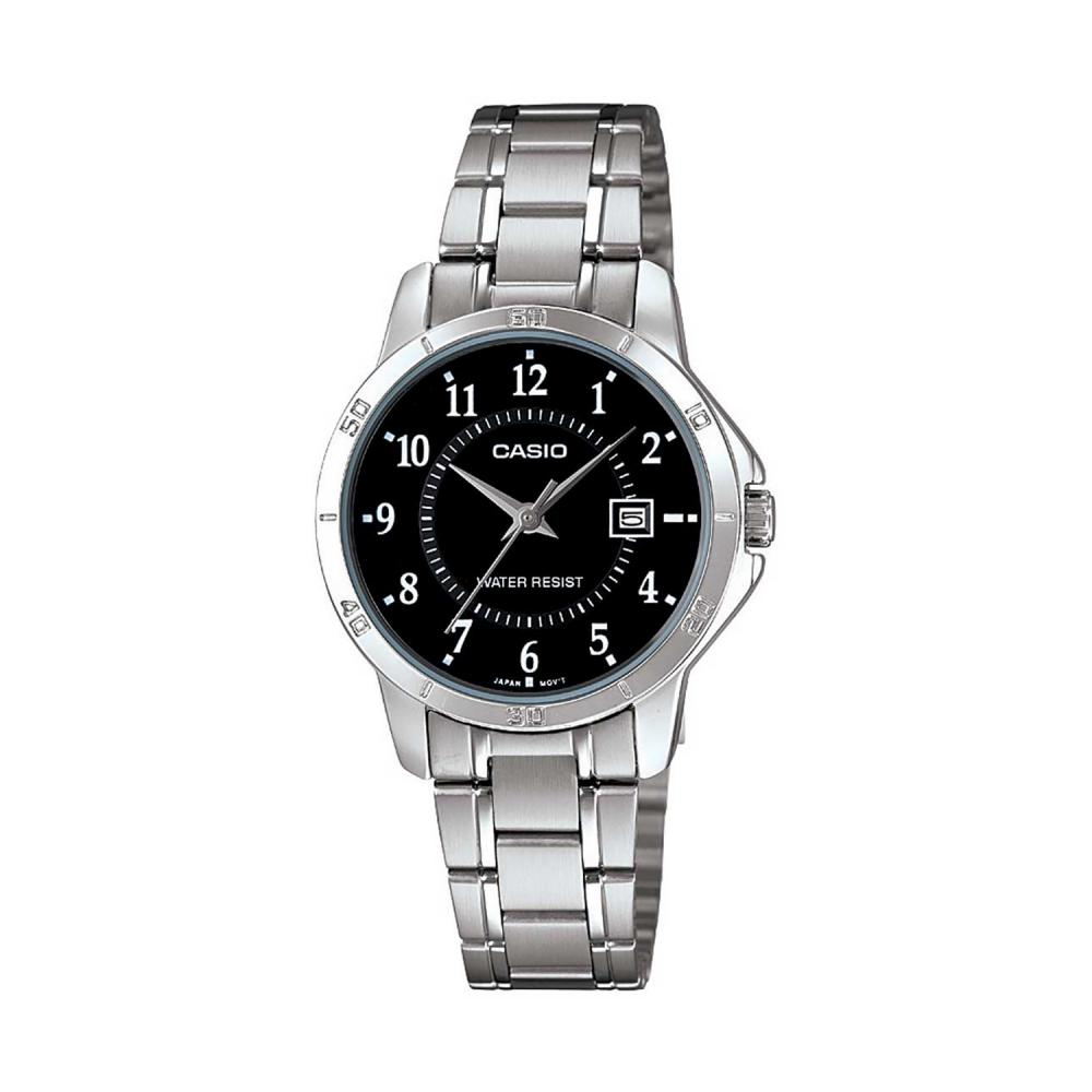Casio Ladies 3-Hand Analog Water Resistant Watch with Date, Black Face and Stainless Steel Band