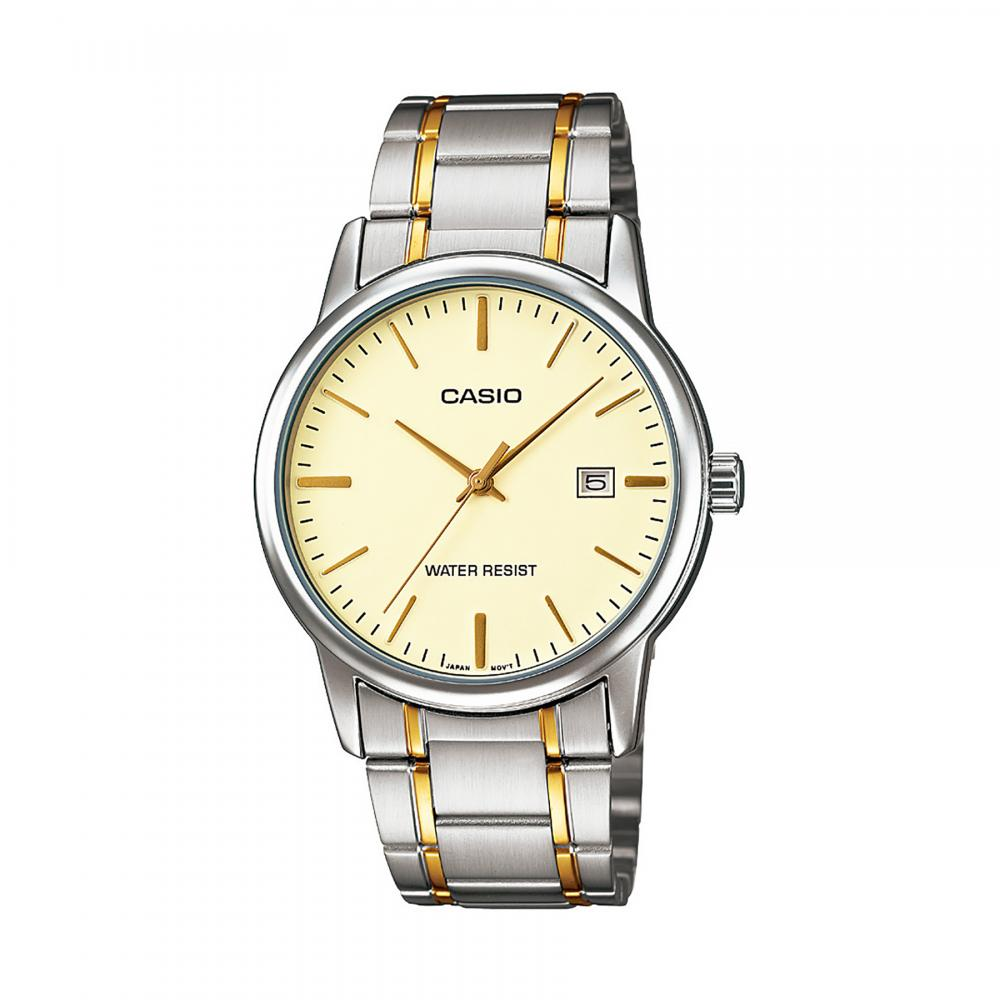 Casio 3-Hand Analog Water Resistant Gold Face Watch, Gold ion Plated Stainless Steel Band