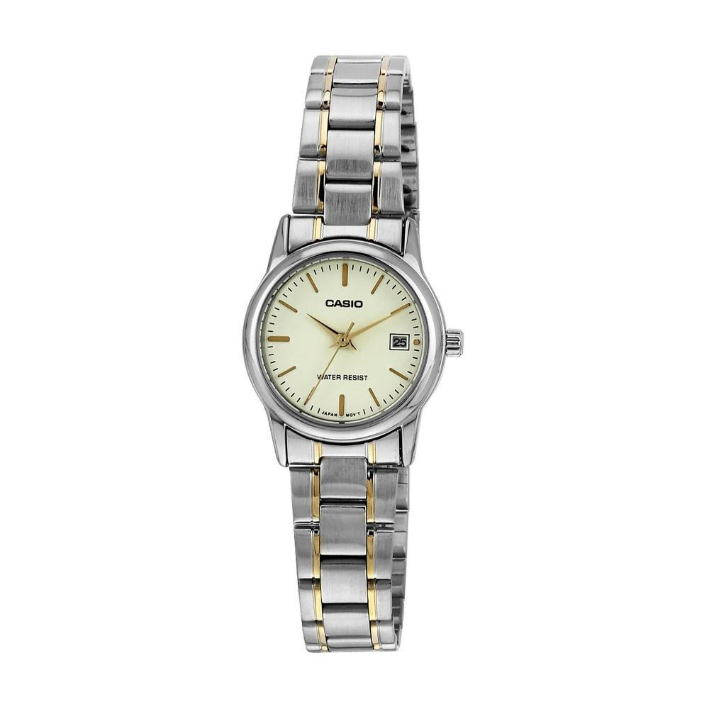 Casio 3-Hand Analog Watch with Gold Face and Gold ion Plated Stainless Steel Band