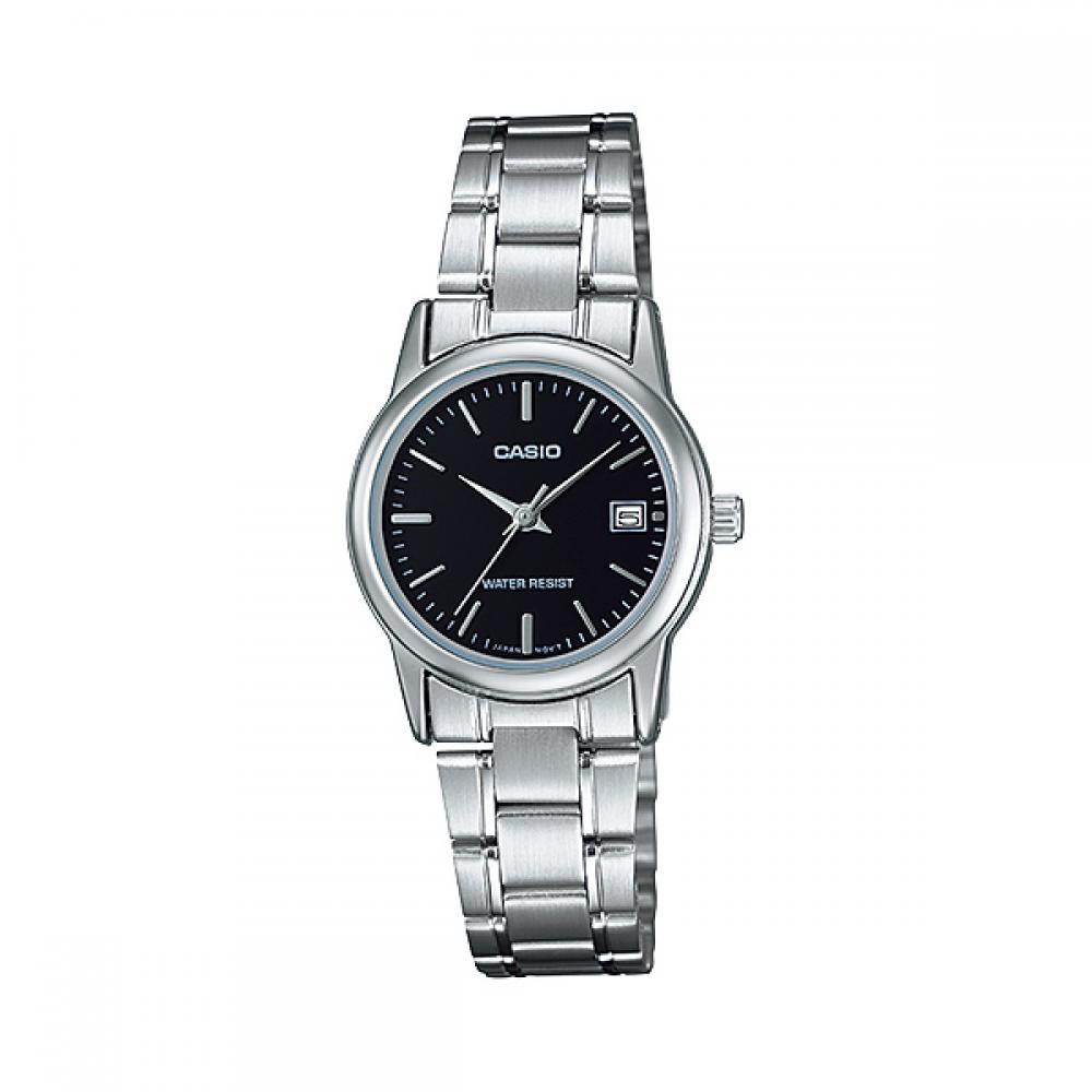 Casio Ladies 3-Hand Analog Water Resistant Watch, Black Face, Stainless Steel Band