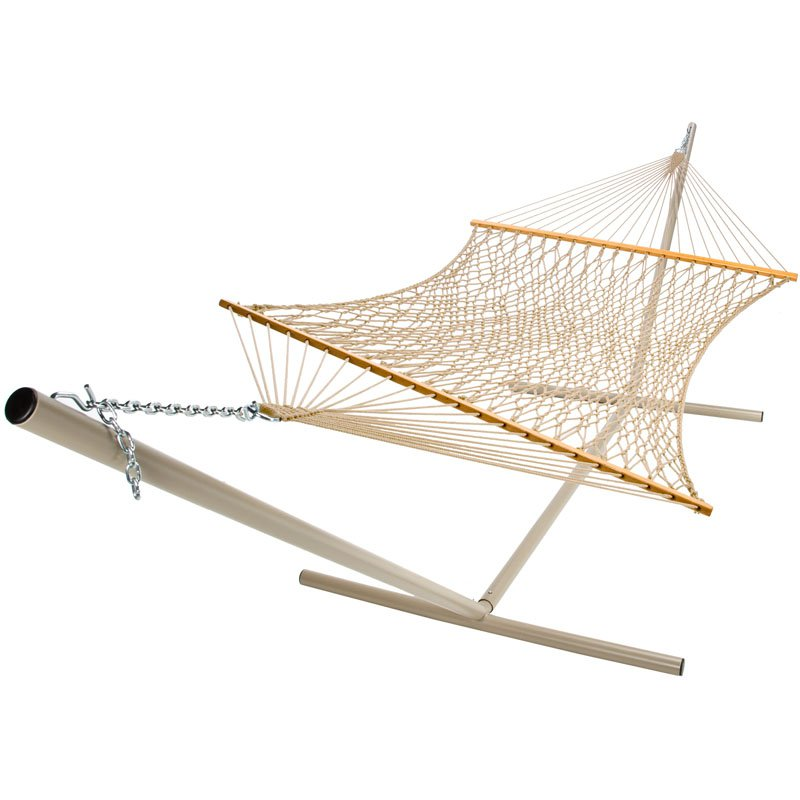 Deluxe Polyester Rope Hammock - Green