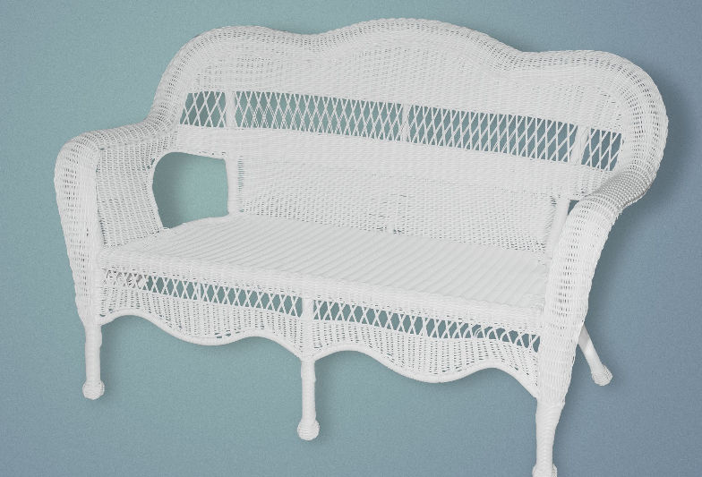 Sahara Love Seat w/Rave Cherry cushion - White