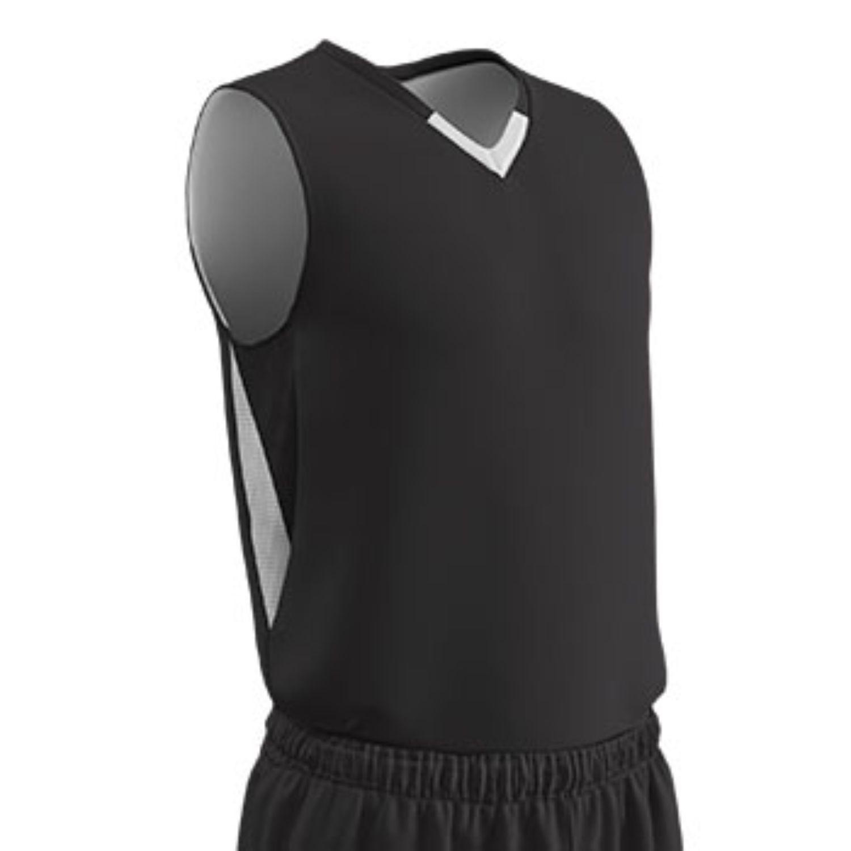 Champro Adult Pivot Reverse Basketball Jersey Black Wht MED