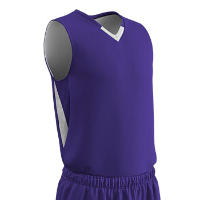 Champro Adult Pivot Reverse Basketball Jersey Purple Wht SM