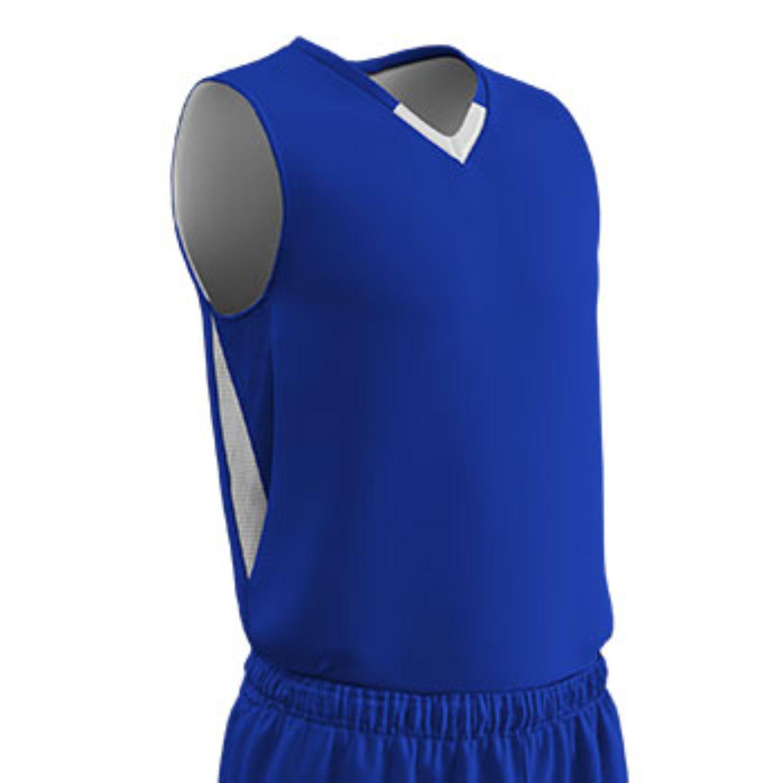 Champro Youth Pivot Reverse Basketball Jersey Royal White XL