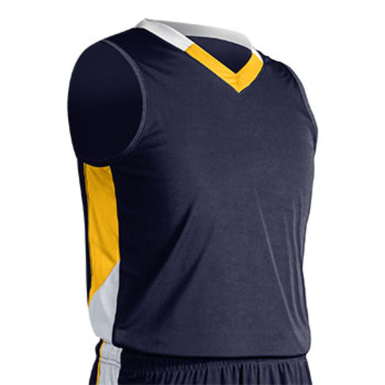 Champro Youth Rebel Basketball Jersey Navy Gold White Medium