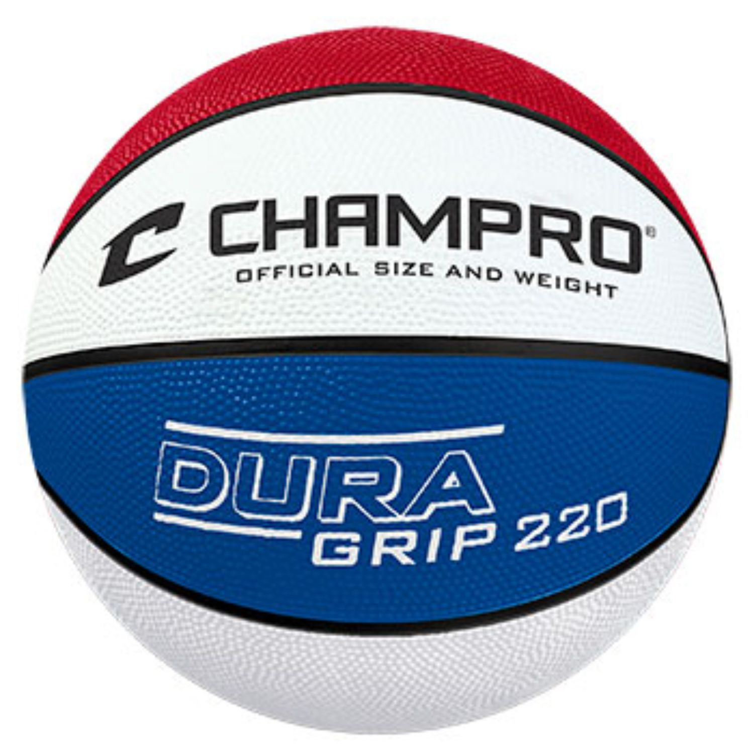 Champro Dura Grip 220 Official Size Basketball Red White Blu