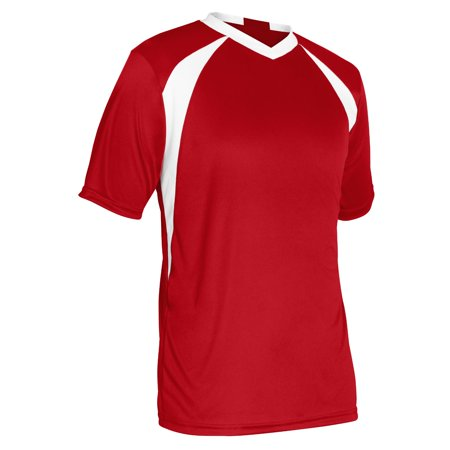 Champro Adult Sweeper Soccer Jersey Scarlet White Xlarge