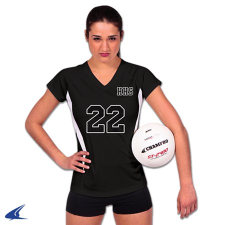 Champro SPIKE Ladies Volleyball Jersey Black White Large
