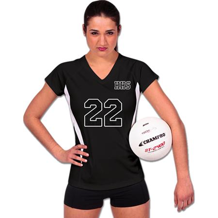 Champro SPIKE Ladies Volleyball Jersey Black White Medium