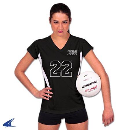 Champro SPIKE Ladies Volleyball Jersey Black White Xlarge