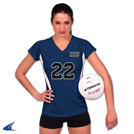 Champro SPIKE Ladies Volleyball Jersey Navy White Xsmall