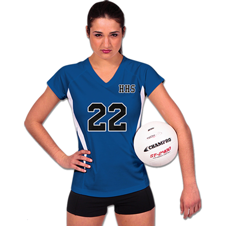 Champro SPIKE Ladies Volleyball Jersey Royal White Large